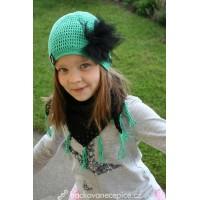 Háčkovaný setík - šátek + čepice (53-55 cm)