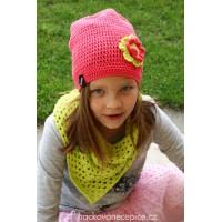 Háčkovaný setík - šátek + čepice (51-53 cm)