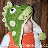 Háčkovaná ušanka Dinosaurus